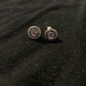 Pandora pink CZ earrings
